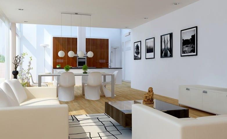 modernes wohnzimmer weiß mit kochinsel und holzwandverkleidung-kugel pendelleuchten weiß-modernes teppich weiß