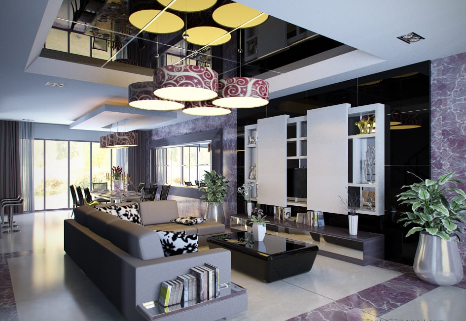 wohnzimmer grau mit deckengestaltung aus spiegeln und pendelleuchten-moderner wohnwand weiß mit schiebetüren-sofa grau