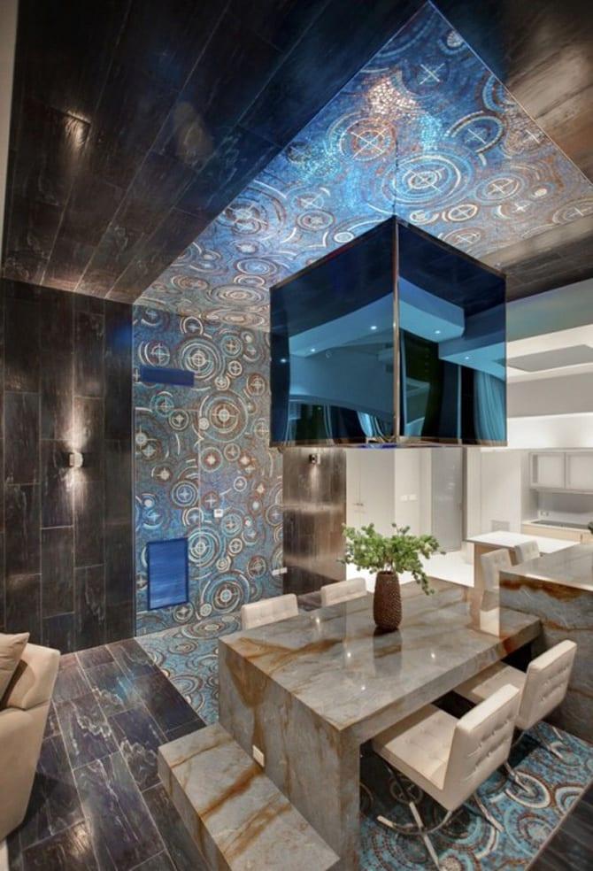 deckegestaltung mit schwarzen natursteinplatten-modernes wohnzimmer design mit mosaik und esszimmer aus natustein