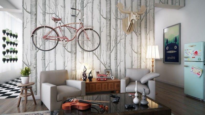 stylisches wohnzimmer-ideen für wandgestaltung mit tapete- hängende kreutergarten