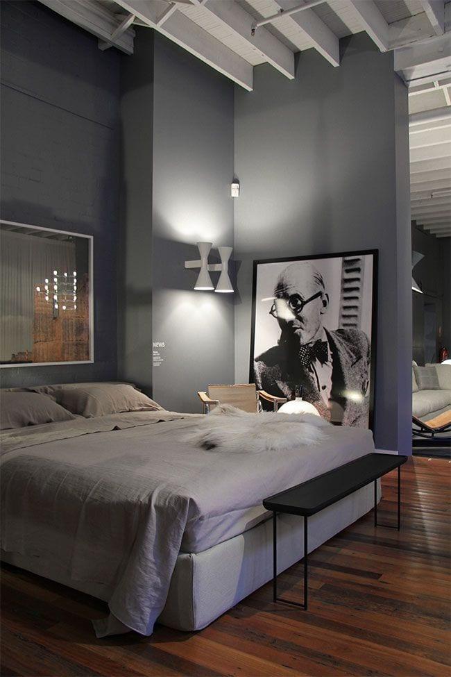modernes schlafzimmer gestaltung mit wandfarbe grau und moderne weiße wandleuchten