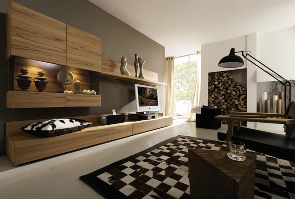 luxus wohnzimmer in braun mit wohnwand holz und teppich schachmat