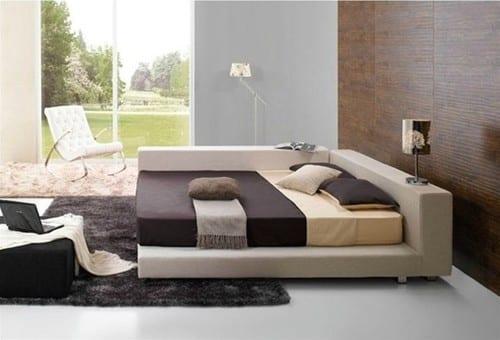 modernes schlafzimmer mit quinbett-teppich grau-wandgestaltung schlafzimmer