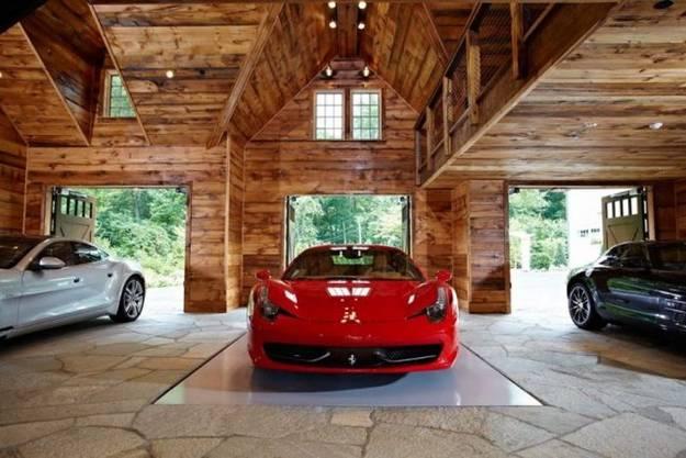 xxl garage mit natursteinboden und mobile parkplätzen