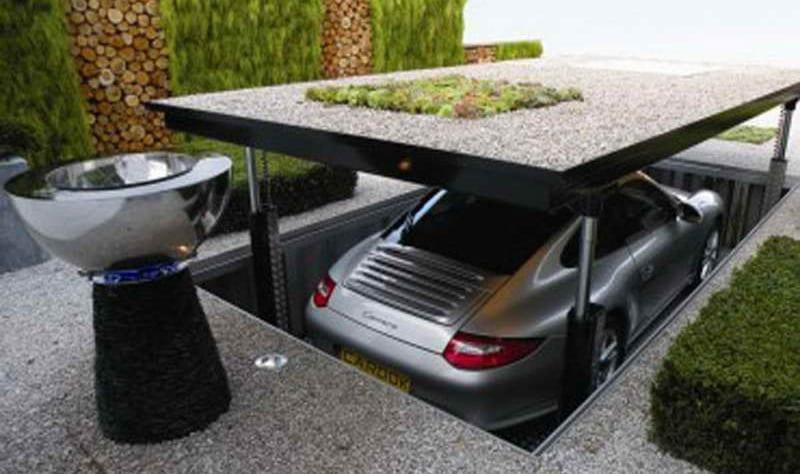 kreative lösung für tiefgarage mit mobilem Arbeitsplatz und begrüntem Dach