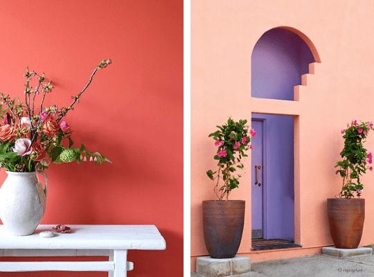 Wandfarbe lila- weißer Holztisch