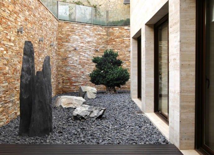 garten ideen mit steinen und steinmauer