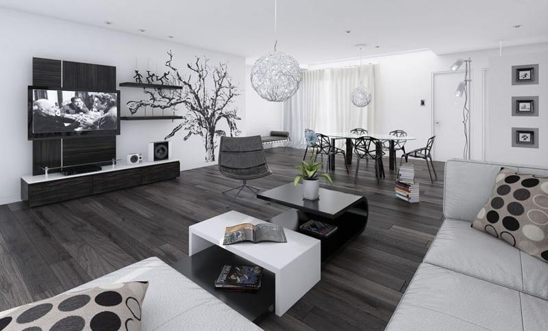 wohnzimmer schwarz weiß mit modernen esszimmerstühlen schwarz und ecksofa weiß