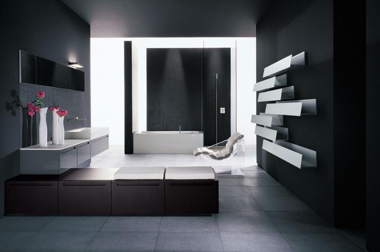 schwarze badezimmer mit weißen wandregalen und Waschtisch-schrank-duschkabine mit schwarzen wänden- weiße rechteckige badewanne