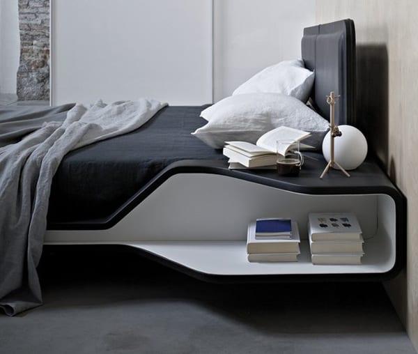 luxus sxhlafzimmer mit modernem bett schwarz-bettwäsche schwarz-bettdecke grau