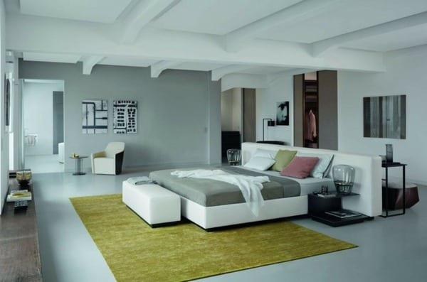 deckengestaltung eines modernen schlafzimmer mit bett weiß  und wandfarbe hellgrau