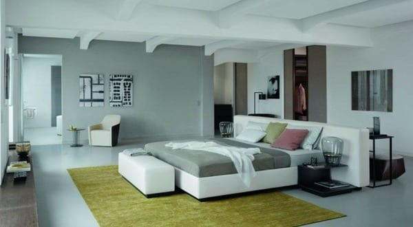 modernes schlafzimmer grau mit teppich gr n freshouse. Black Bedroom Furniture Sets. Home Design Ideas
