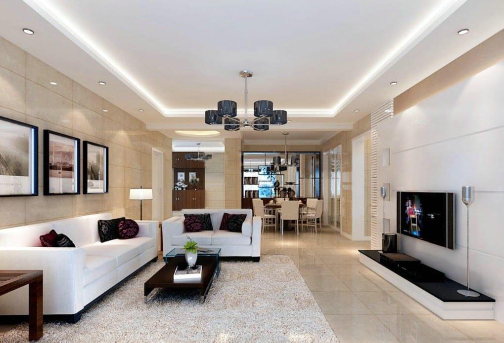 deckengestaltung mit indirekter beleuchtung-moderner wohnwand weiß