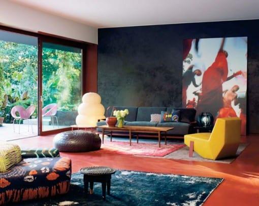 luxus wonzimmer braun mit wandfarbe schwarz-designer seats and sofas