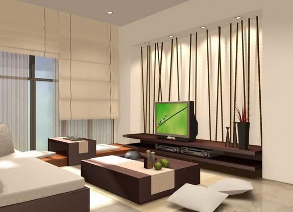 modernes wohnzimmer gestalten-bambus wandgestaltung - freshouse, Wohnzimmer dekoo
