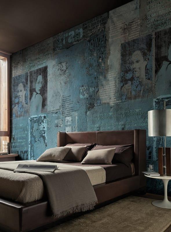 blaue tapete für luxus schlafzimmer mit lederbett braun