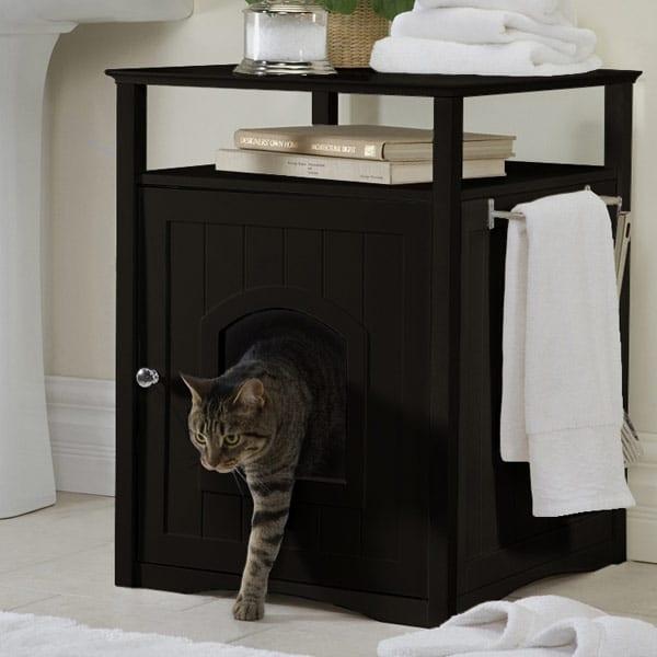 coole wohnidee für katzenhaus im nachttisch