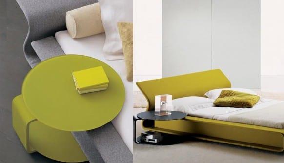luxus schlafzimmer mit modernem bett grün mit nachttisch rund in grün