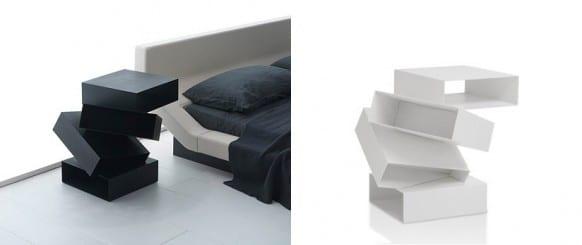 moderne nachttische modelle in weiß und schwarz