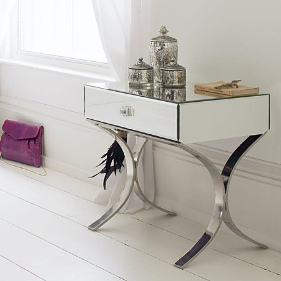luxus schlafzimmer einrichten mit modernem nachttisch weiß mit metallfüßen