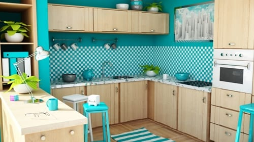 holzküche mit wänden blau