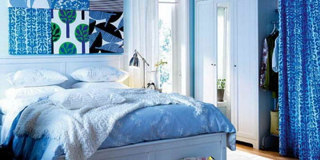 Schlafzimmer blau wandgestaltung blau freshouse - Schlafzimmer blau ...