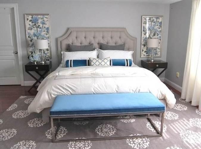 schlafzimmer teppich grau-wandfarbe grautäne-bank blau