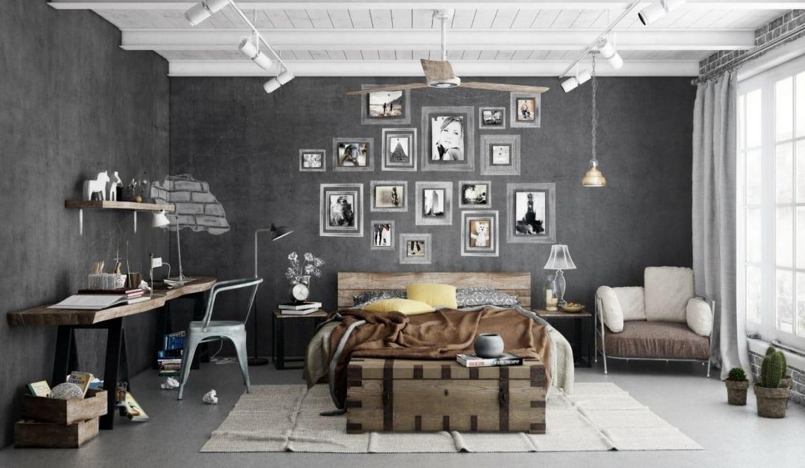 modernes schlafzimmer mit wandfarbe grau und deckengestaltung mit holzverkleidung und stahlträger in weiß-DIY schreibtisch aus Holz-bilderrahmen dekorieren