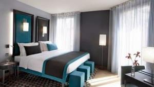 schlafzimmer grau mit bett blau - fresHouse