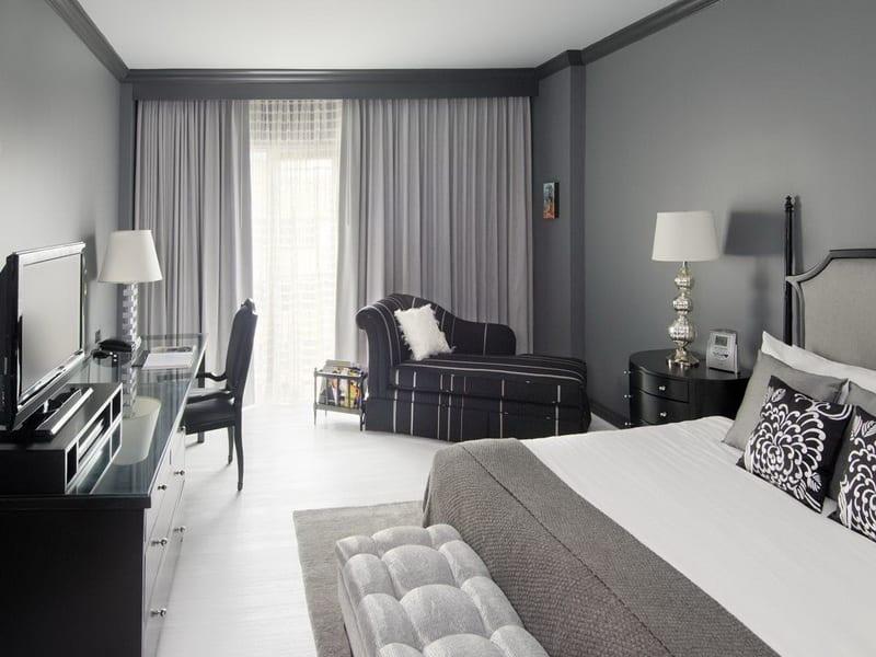 schlafzimmer grau mit grauen gardinen und grauen wänden - fresHouse