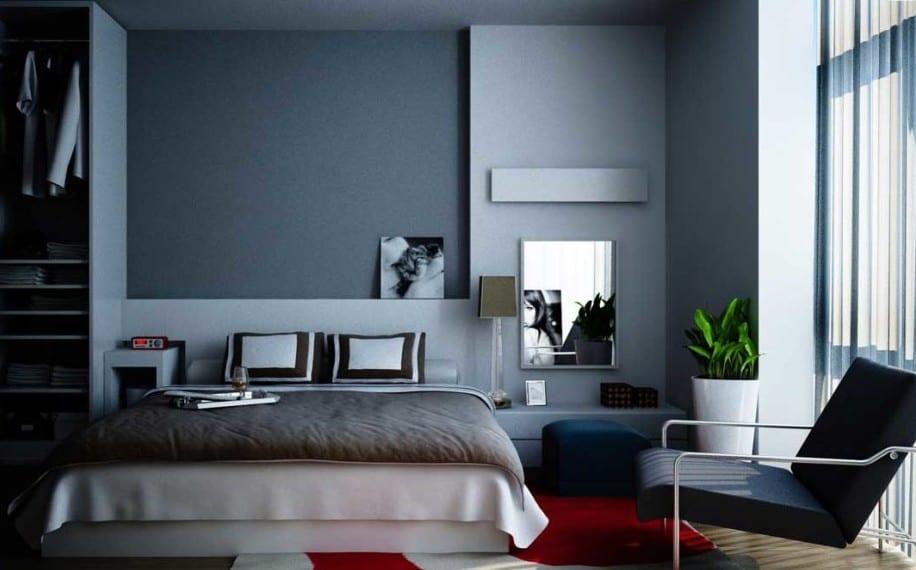 schlafzimmer wandfarbe ideen-weißes bett mit bettdecke grau-spiegel im schlafzimmer