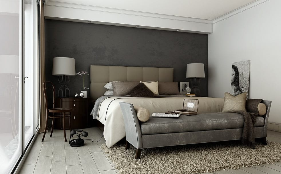 schlafzimmer grau ein modernes schlafzimmer interior in grau freshouse. Black Bedroom Furniture Sets. Home Design Ideas