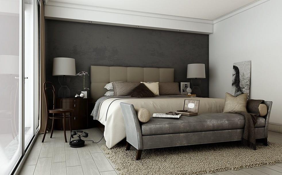 luxus schlafzimmer mit bett beige und moderne liegesofa