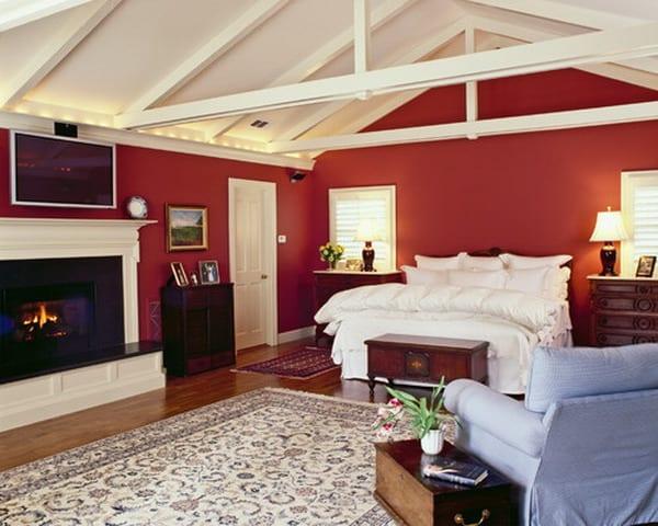 schlafzimmer am dach mit weißer dachkonstruktion und roten wänden-lichtgestaltung schlafzimmer