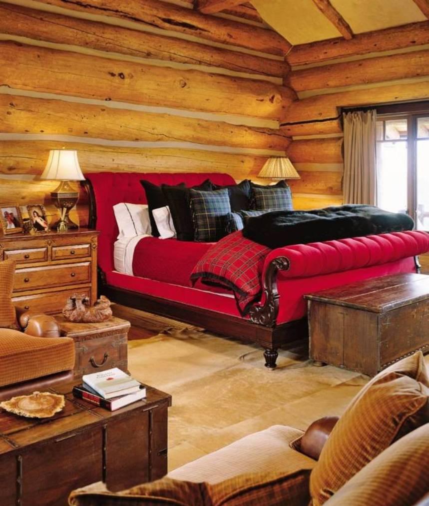 luxus schlafzimmer mit rotem bett und holz interior-bett dekorieren mit schwarzen kissen und bettdecke schwarz