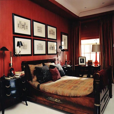 Schlafzimmer rot 50 schlafzimmer inspirationen in rot for Best paint colors for mens bedroom
