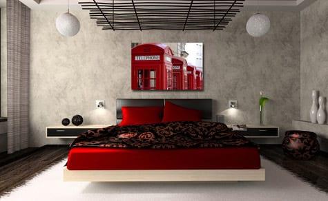 modernes bett in weiß mit roter bettwäsche und schwarzer bettdecke-dekengestaltung