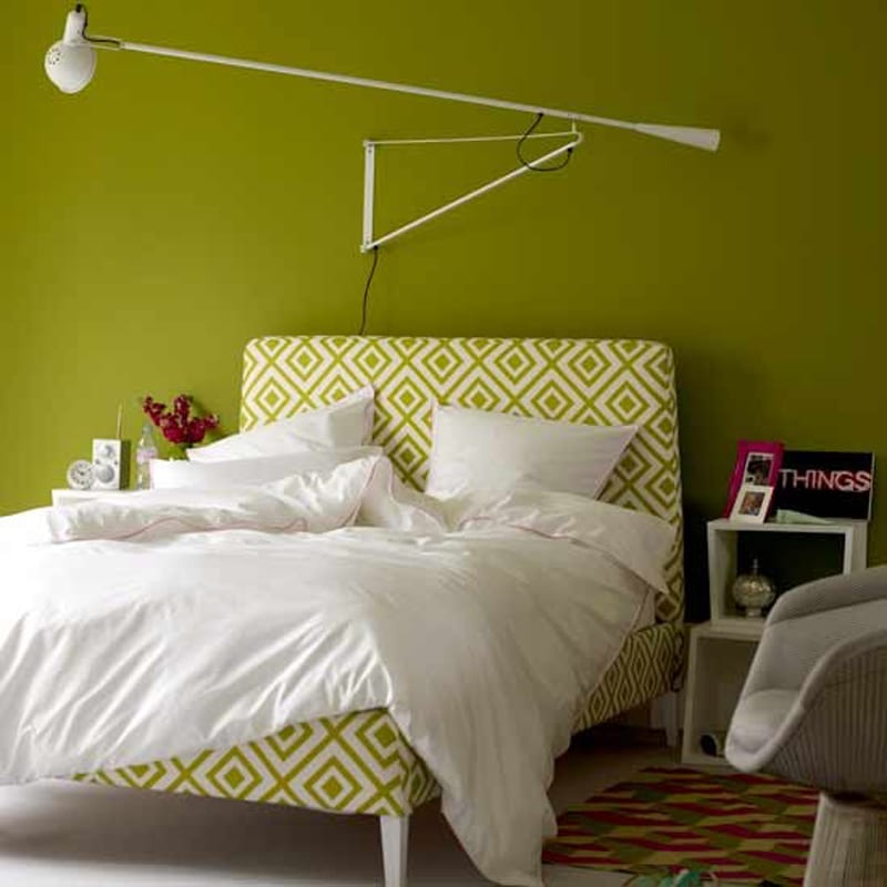 Schlafzimmer Wandfarbe - Ideen Für Grelle Schlafzimmer ... Schlafzimmer Farben Grn