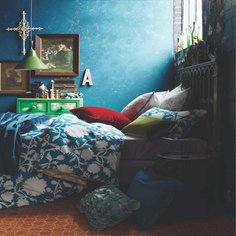 schlafzimmer dekorieren in blau und grün