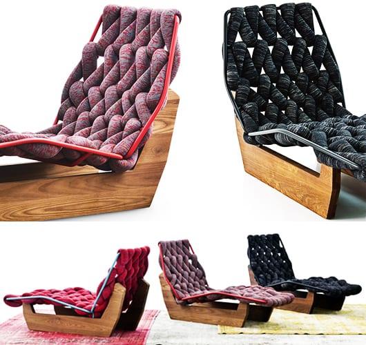 liegesessel aus holz und textil- moderne Möblierung