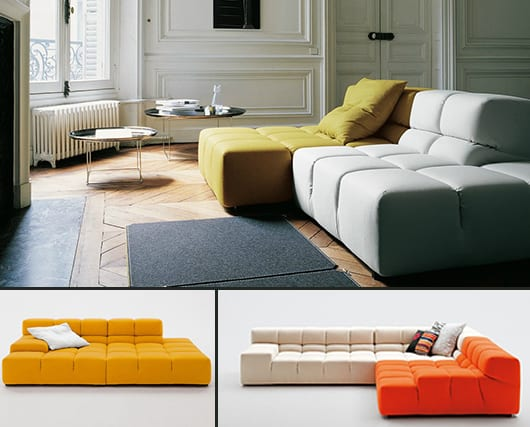 moderne Ledersofas gelb und orange