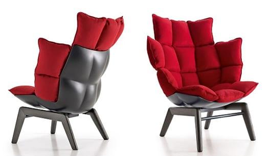 seats and sofas- designersessel schwarz mit polsterkissen rot