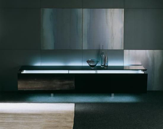 Sideboard schwarz mir beleuchtung - sideboard minimalistisch dekorieren