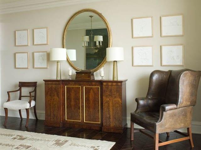 Ideen für wandgestaltung mit bilderrahmen- wohnzimmer klassisch gestalten