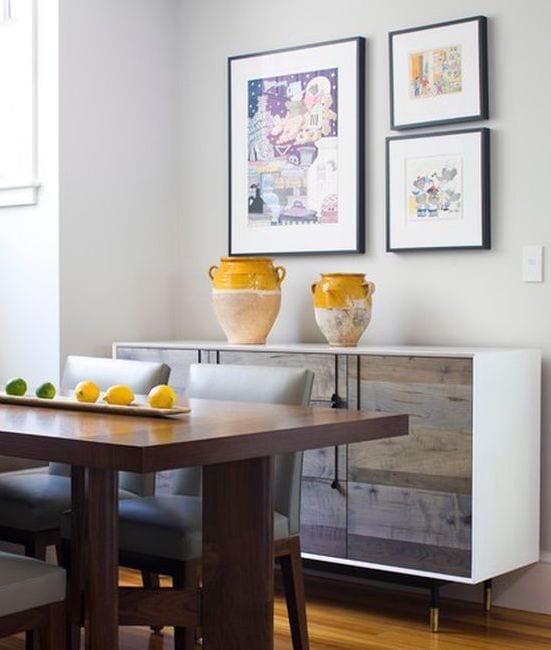 Esszimmer gestalten mit esstisch aus holz-tisch deko idee mit Zitronen