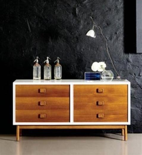 Wandfarbe schwarz - sideboard weiß mit schubladen aus Holz