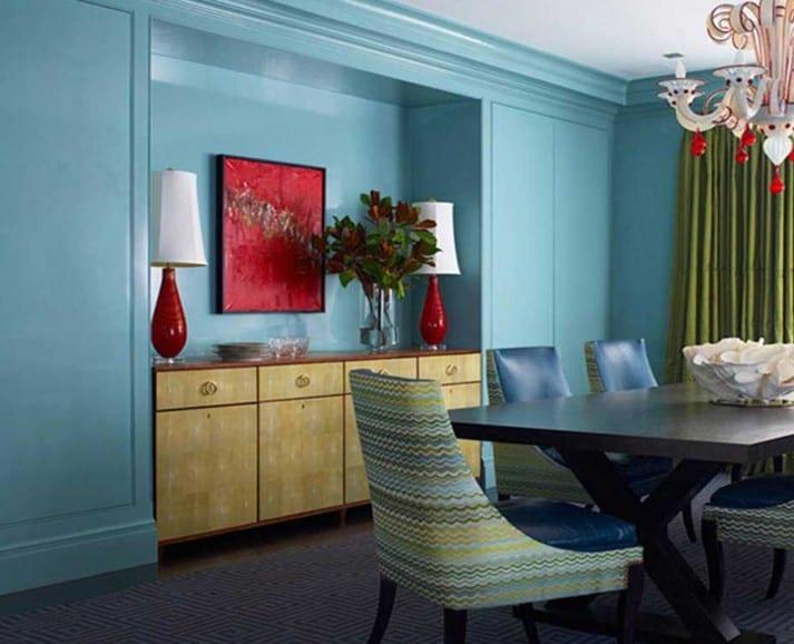 wandfarbe blau - moderne esszimmerstühle blau-gardinen grün