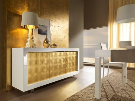 wohnzimmer modern dekorieren:wandfarbe gold-modernes wohnzimmer in ...