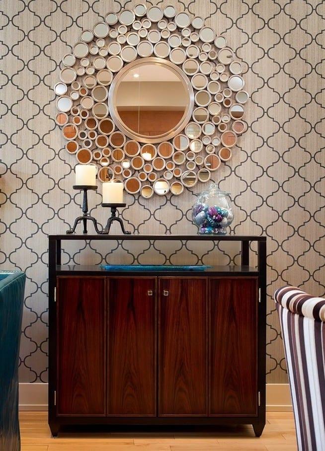 ideen für wandgestaltung mit runden Spiegeln