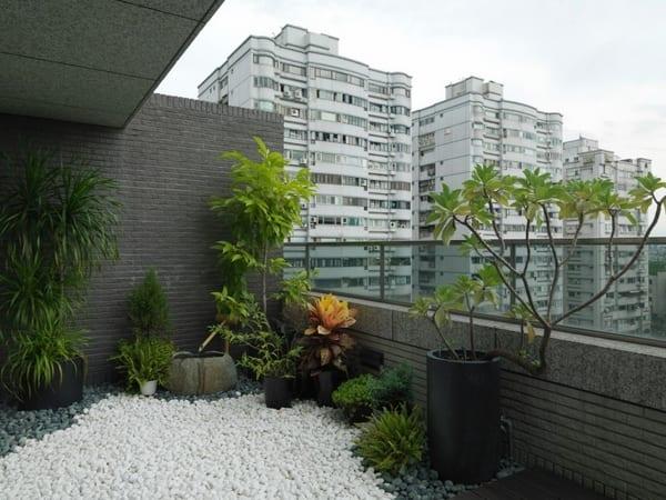 terrassengestaltung mit steingarten aus weißen kieselsteinen und pflanzen